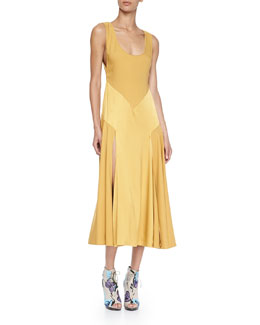 Burberry Prorsum Silk Chevron Paneled Dress, Bright Larch Yellow