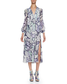 Burberry Prorsum Painted Pleated Silk Dress, Light Green Opal