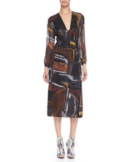 Burberry Prorsum Smocked Painted Silk Dress
