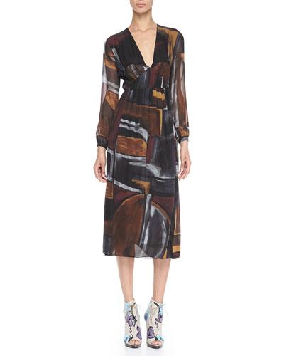 Burberry Prorsum Smocked Painted Silk Dress
