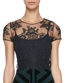 Burberry Prorsum Floral-Embroidered Tulle Top, Black