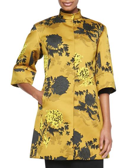 Etro Floral Duchess Satin Coat, Gold