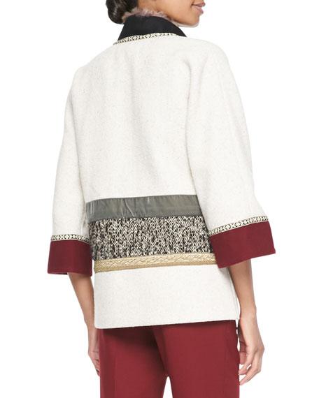 Mixed Media Coat with Fur Trim, Ivory/Multi