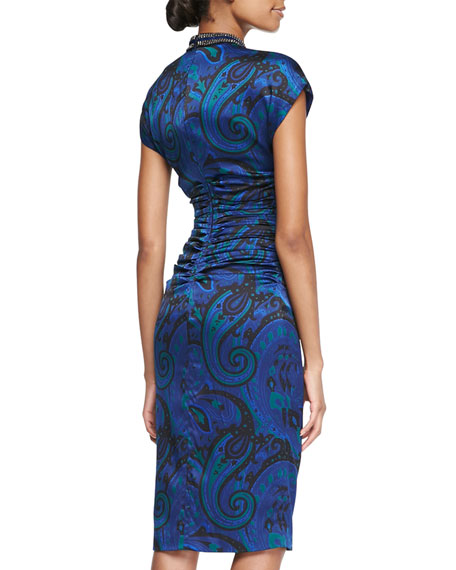 Paisley Silk Dress with Ruched Waist