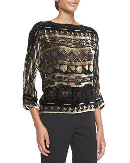 Etro Geometric Devore Velvet Top
