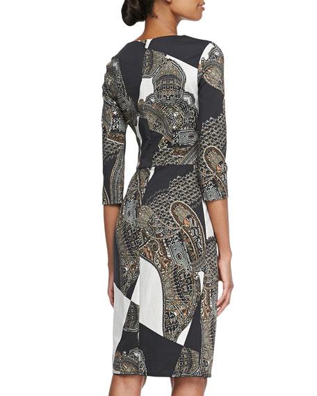 Chain Paisley Knit Jersey Dress