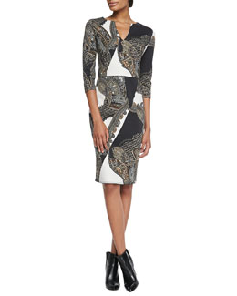 Etro Chain Paisley Knit Jersey Dress