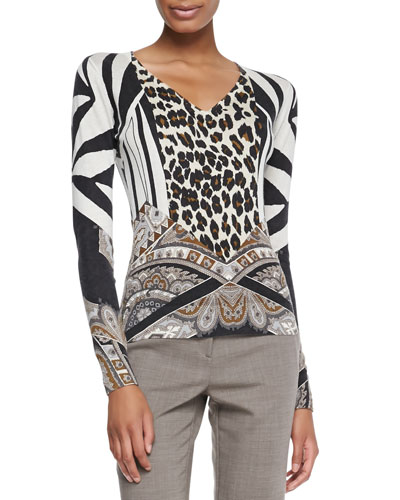 Etro Leopard and Paisley Silk Top