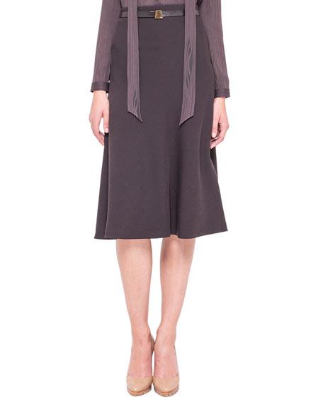 Long Wool Diagonal Skirt