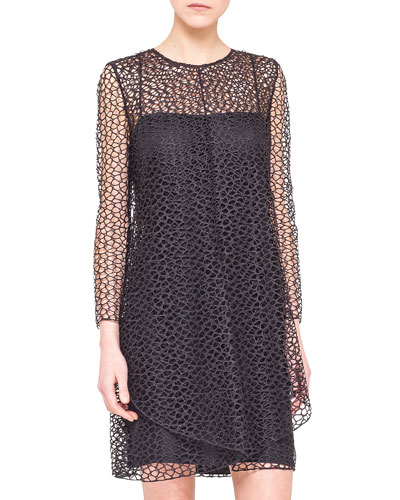 Akris Long-Sleeve St. Gallen Lace Dress