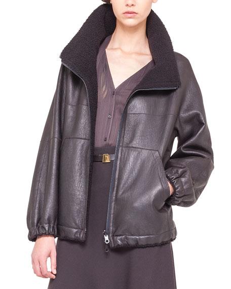 Reversible Lambskin & Shearling Fur Parka Jacket, Brown