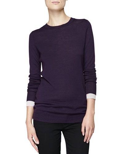 Burberry Brit Crewneck Sweater w/ Check-Detail Sleeves
