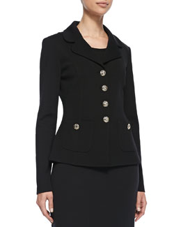 St. John Collection Button-Front Jacket, Caviar