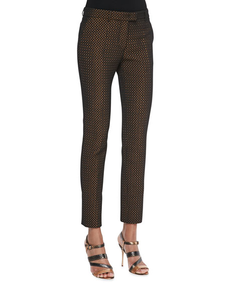 Puff Waffle Cropped Skinny Pants