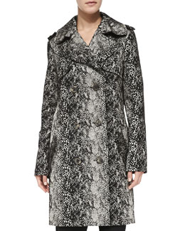 Double-Breasted Snake-Print Trenchcoat