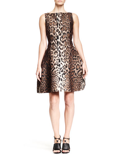 Lanvin Leopard-Print Dress with Full Skirt