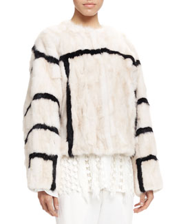 Graphic Striped Fur Coat