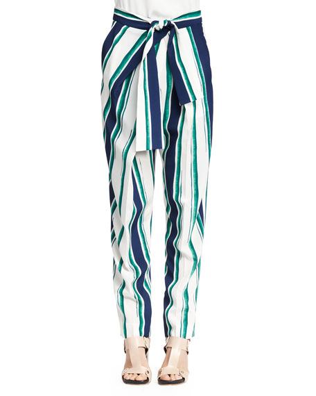 Chloe Striped Tie-Waist Pants