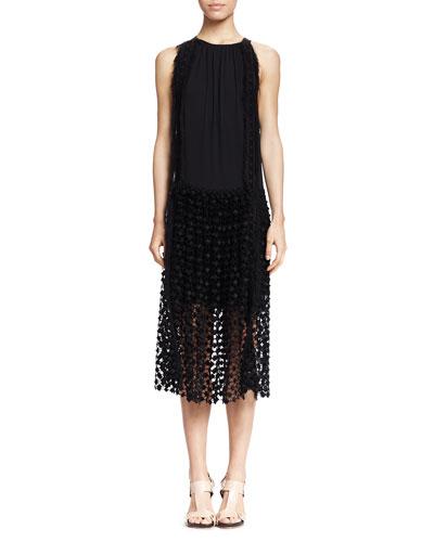 Chloe Sleeveless Lace-Bottom Combo Dress