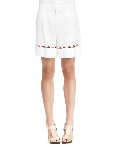 Chloe Scalloped-Cutout Bermuda Shorts