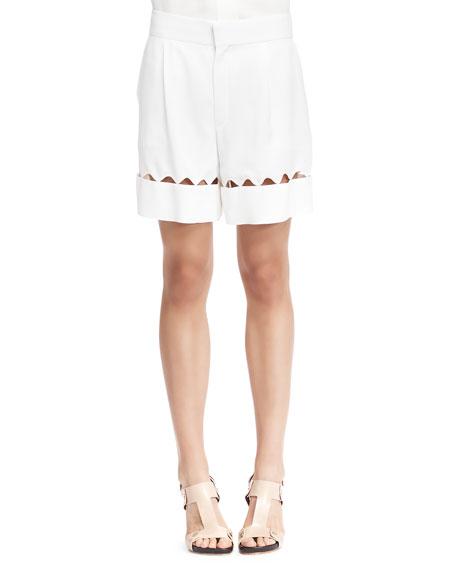 Chloe Scalloped-Cutout Bermuda Shorts