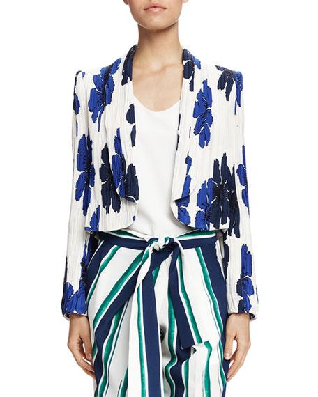 Chloe Crinkled Floral-Print Jacket