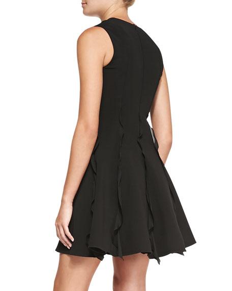 Ruffle-Detail Pleated Dress, Black