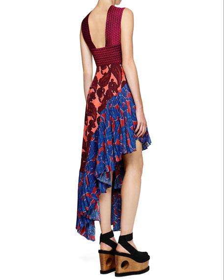 Cross-Front Paisley Asymmetric Dress, Bubble Gum