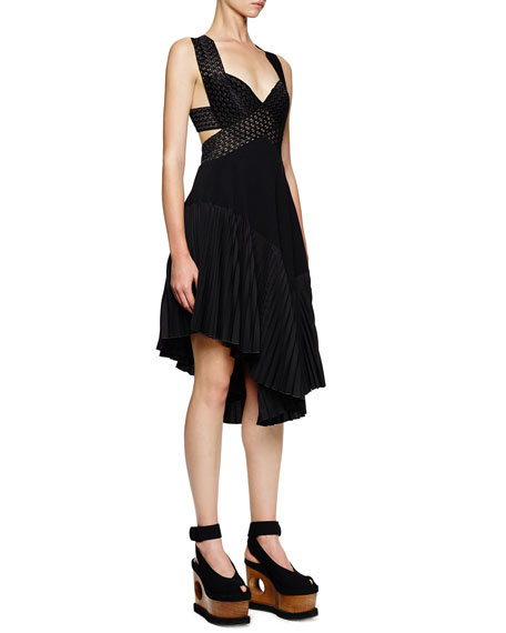 Stella McCartney Asymmetric Cutout Crisscross Dress, Black