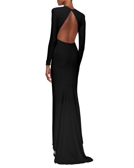 Jewel-Neck Open-Back Godet Gown, Black