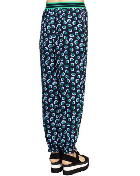 Stripe-Waist Printed Ankle Pants