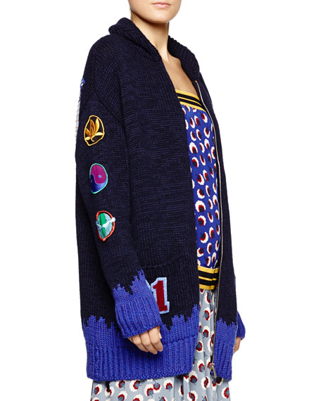 Varsity-Style Starling-Applique Sweater