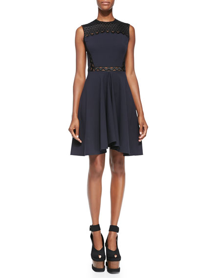 Stella McCartney Ric-Rac Paneled Fit-and-Flare Dress, Midnight
