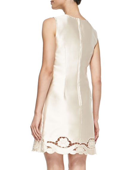 Laser-Cut Silk Mikado Dress, Champagne