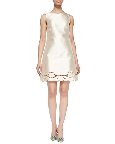 Dolce & Gabbana Laser-Cut Silk Mikado Dress, Champagne