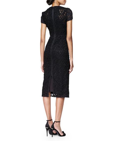 Silk Lace Midi Dress, Black