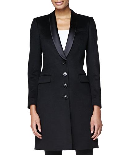 Burberry London Satin-Lapel Tailored Evening Coat