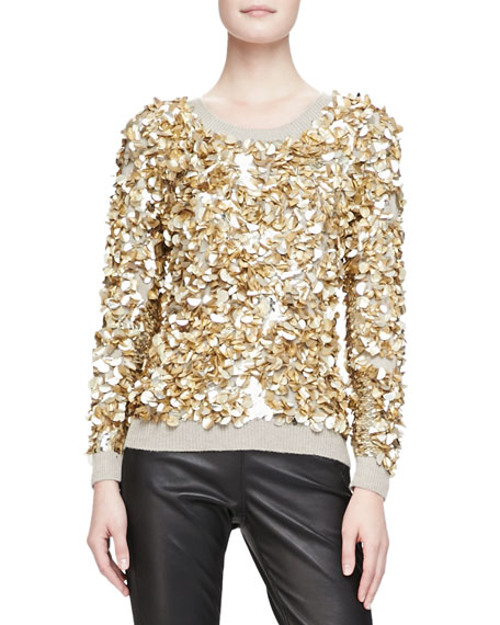 Cashmere-Blend Crushed Sequin Sweater, Honey Melange