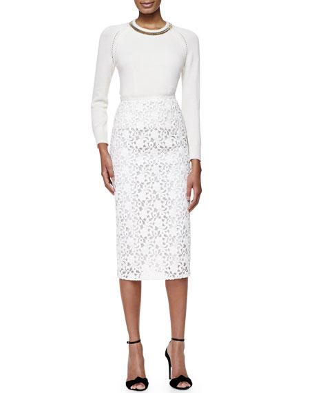 burberry lace midi length pencil skirt