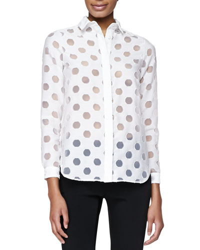 Burberry London Sheer-Dot Wide-Placket Shirt