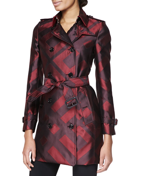 Burberry London Check Silk Modern-Fit Trench Coat, Mahogany Red