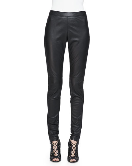 Burberry LondonSide-Paneled Leather Leggings, Black
