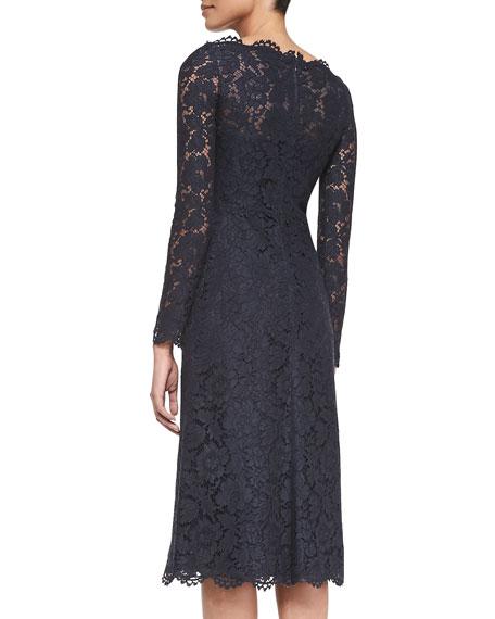 Long-Sleeve Tea-Length Lace Dress