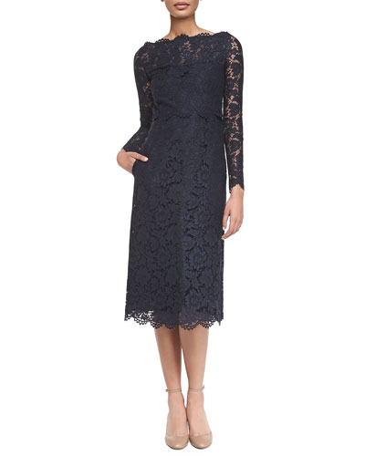 Valentino Long-Sleeve Tea-Length Lace Dress