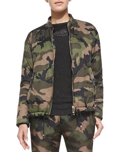 Valentino Zip-Front Camo Jacket w/ Drawstring Hem