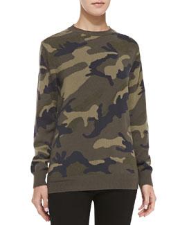 Valentino Camo Cashmere Knit Pullover Sweatshirt
