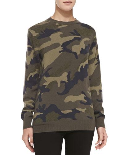 Camo Cashmere Knit Pullover Sweatshirt