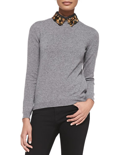 Valentino Pullover Sweater with Feather Collar