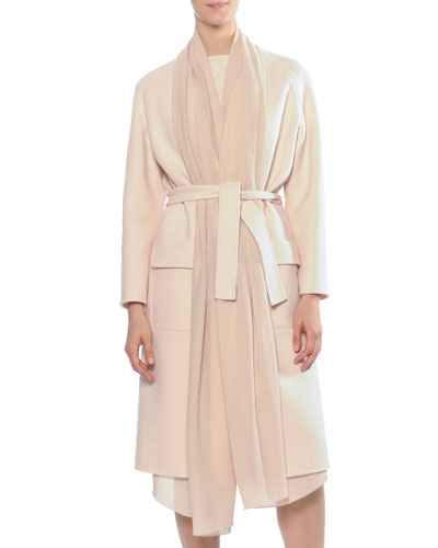Cashmere Detachable-Scarf Coat