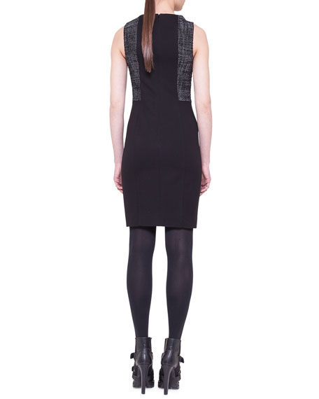 Tweed-Panel Sheath Dress